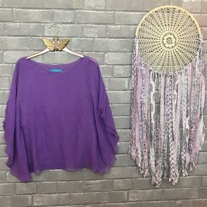 alice + olivia // lavender purple chiffon blouse m